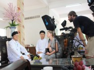 FRENCH-GERMAN ARTE TV FILMING CREW VISIT TO CAO DAI TAY NINH HOLY SEE
